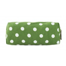 PC - Miss Lulu Canvas Pencil Case Polka Dot Green